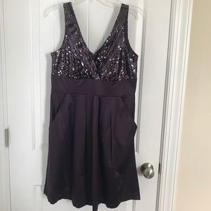 Deep purple sequins and satin dress with pockets